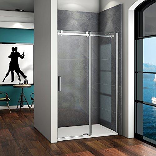 135x195cm 6mm Klarglas Dusche Duschabtrennung Duschwand Schiebetür Nischentür ohne Duschtasse