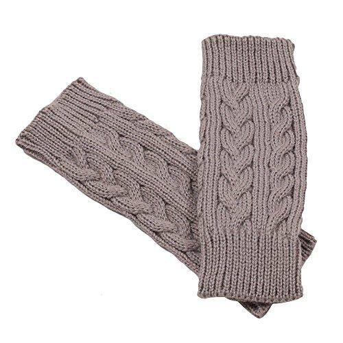 YunYoud gestrickte Fingerlos Handschuhe lang skihandschuhe dünn touchscreen leder winterhandschuhe dunkelblau fitness warm gefüttert ohne finger lammfell fingerhandschuhe