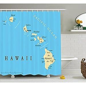 Yeuss Cortina de ducha hawaiana por mapa de las Islas Hawaii con bordes de Honolulu Capital y ciudades importantes, juego de decoración de baño de tela con ganchos, azul marfil negro 152 cm x 182 cm