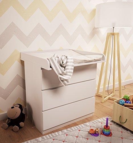 Preisvergleich Produktbild Polini Kids Wickelaufsatz für Kommode MALM IKEA aus Holz weiß,3041-04