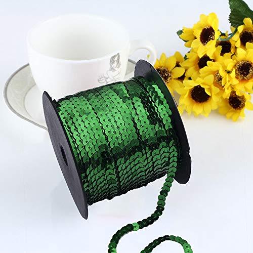 Exquisites, strahlendes flaches AsentechUK®-Pailletten-Band zum Nähen, Basteln, Verschönern - Zubehör zum Selbstnähen - 1Rolle: 6mm breit, PVC, grün, 90m
