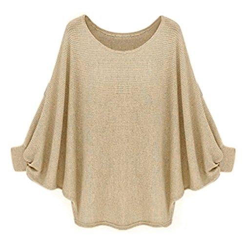 Longra Las mujeres de gran tamaño de murciélago suéter de punto flojo Pullover (Caqui)