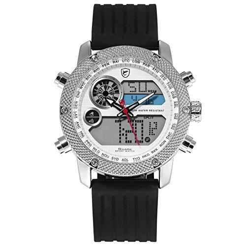 SHARK Quartz Homme Montre bracelet Silicone Jour de l'affichage à cristaux liquides Afficher alarme chronomètre lumineux SH583
