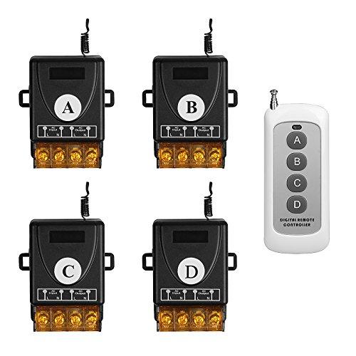 TSSS Lagerhäuser Büros Fernbedienung mit 4 Empfänger Satz Funkschalter Funk Wandsender Wireless Licht Schalter - Fernbedienung Multi-Einheit Beleuchtung Lampen und Andere elektronische Geräten