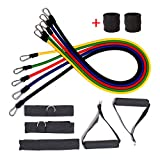 Exercise Bands Sets,Resistance Band Kit,5 Fitness Tubes with Handles,Door Anchor,Ankle Straps,Workout Guide and Wrist Bands,Stretch Bands Home Gym,Building Muscle,Fat Loss,Rehabilitative Exercises Indoor or Sports & Outdoors