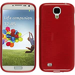 PhoneNatic Case für Samsung Galaxy S4 Hülle Silikon rot brushed Cover Galaxy S4 Tasche Case