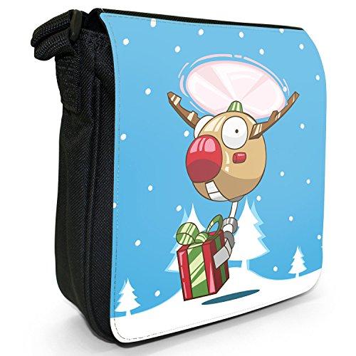 Renne di Babbo Natale Fun & Frolics piccolo nero Tela Borsa a tracolla, taglia S Robot Drone Red Nose Reindeer
