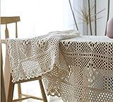 TYTLYA Tischdecke Abwaschbar Stoff Ornamente Schmutzabweisend Baumwolle Handarbeit Häkeln Durchbrochener Couchtisch Esstisch Rechteckige Tischdecke, 90 * 90Cm