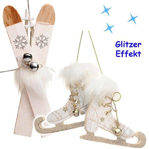 Unbekannt 2 TLG. Set _  Ski mit Stöcken + Schlittschuhe mit Glöckchen - weiß / Silber  - aus Holz - 13,5 cm - Miniatur / Diorama - Anhänger - Weihnachtsdeko / Winter ..