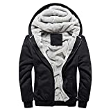 Riou Herren Strickjacke Cardigan Beiläufige DünneStrickpullover mit Kapuze Kapuzenpullover Pullover Männer Hoodie Winter warme Fleece Zipper Sweater Jacke Outwear Mantel (4XL, Schwarz)