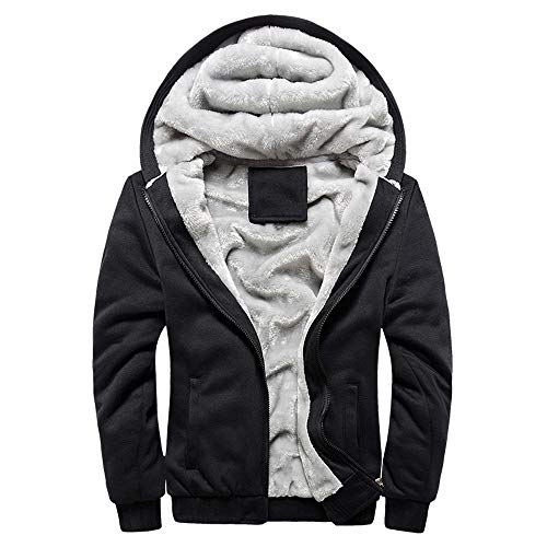 Riou Herren Strickjacke Cardigan Beiläufige DünneStrickpullover mit Kapuze Kapuzenpullover Pullover Männer Hoodie Winter warme Fleece Zipper Sweater Jacke Outwear Mantel (XL, Schwarz)