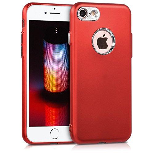 kwmobile Hülle für Apple iPhone 7 / 8 - TPU Silikon Backcover Case Handy Schutzhülle - Cover klar Ananas Strauch Design Rosegold Transparent .Metallic Dunkelrot