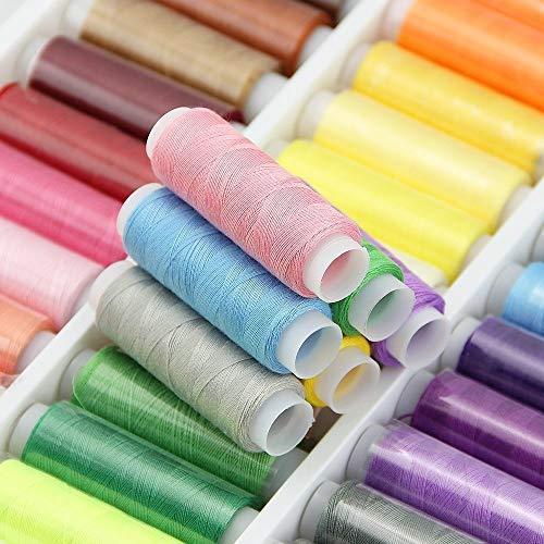 JTDEAL Nähgarn, Polyester Nähmaschinengarn, Nähgarn-Sortiment-Set, mit 39 Farben,200 Yard
