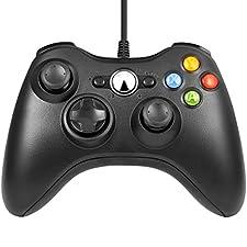 LESHP Manette filaire Xbox 360, Filaire GamePad Controller, Manette du Contrôleur de Jeu Filaire avec Double Vibration Pour PC / Android / TV Box (Xbox 360-Noir)