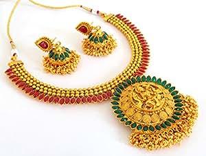 Megh Craft Women's South Indian Bridal Lakshmi Temple Jewellery - JWLX9