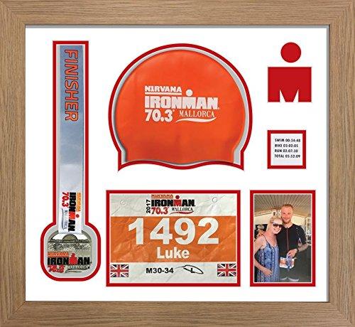 Kwik Picture Framing Ltd Ironman Staffordshire 70 3 Triathlon Marathon, Running Medal, Swimming Cap and Photo Display Frame White Mount - Oak Frame
