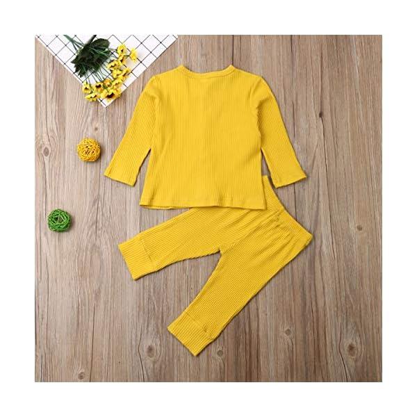 Conjunto de pijama de manga larga con botones y pantalones largos, de algodón de dos piezas 3