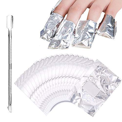 300 unidades papel aluminio quitaesmalte uñas empujador