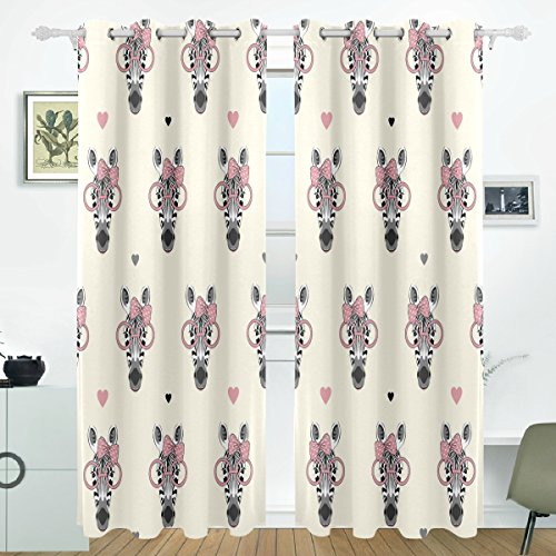 COOSUN Zebra Kopf Muster Blackout Vorhänge Verdunkelung Thermische Isolierte Polyester Grommet Top Blind Vorhang für Schlafzimmer, Wohnzimmer, 2 Panel (55 Watt x 84L Zoll) (Zebra Thermische Vorhänge)