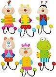 alles-meine.de GmbH 6 Stück _ Wandhaken / Garderobenhaken -  lustiger Figuren & Tiere  - aus Holz & Metall - mit 2 Kleiderhaken - Doppel / Kindergarderobe - Kind Wandgarderobe ..