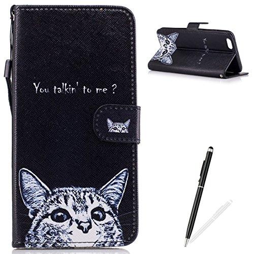 Custodia iPhone 6 Plus/6S Plus Portafoglio Antigraffio Foglio Capovolgere Pelle Sintetica Cover Protettiva,MAGQI Antistress Morbido Leggero Case per iPhone 6 Plus/6S Plus Guscio-Glasses Owl White Cat