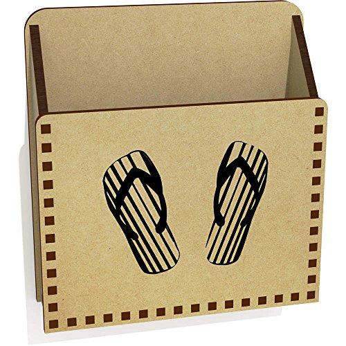 Azeeda 'Gestreifte Flip Flops' Hölzern Brief Halter / Box (LH00017021) -