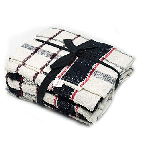 Xelay 6 Pack Superdry Black and White Monocheck Cotton Terry Tea Towel Set (60 x 40 cm (Jambo Check))
