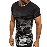 Celucke Camouflage T Shirt Herren Stretch Kurzarm Basic Shirts mit Rundhalsausschnitt, Männer Casual Baumwoll Coole Kurzarmshirt (Grau, M)