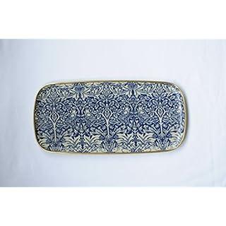 Quality Rectangular Fibreglass Tray in William Morris Brother Rabbit Blue Design