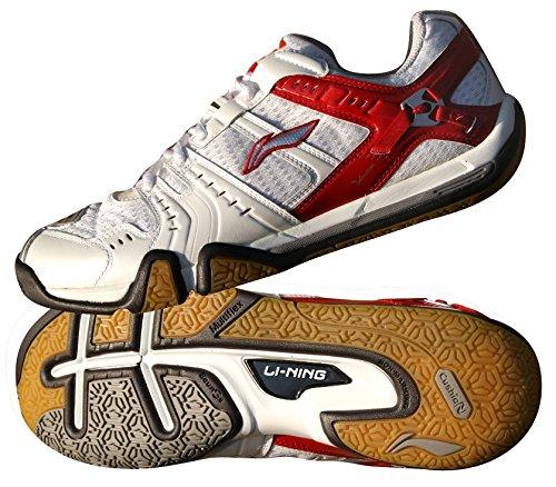 <span class='b_prefix'></span> LI-NING AYZF007-3 Men's Badminton Shoes, White/Red, UK6.5