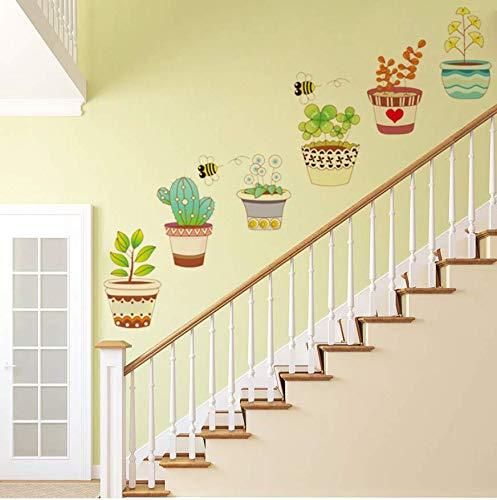 ve Pastoralen Bonsai Topf Blume Pflanze Wandaufkleber PVC Dekoration Fenster Aufkleber Dekorative Home Wohnzimmer Treppen Aufkleber ()