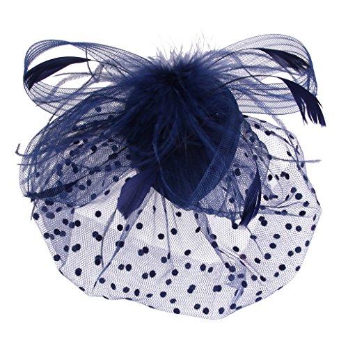 Jaula De Pájaros Cara De Malla Velo Pinza De Pelo del Fascinator De La Novia De Plumas De Color Azul Oscuro