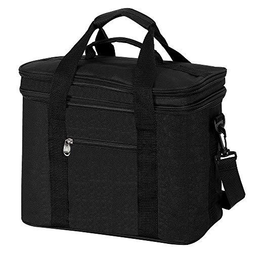 COOTA 20L Isoliertasche mit Große Kapazität and faltbar, Isolierte Schultertaschen, Kühltasche mit Deckel zum Öffnen, Heiße und kalte Isolationstasche mit verstellbarem Schultergurt (Schwarz)