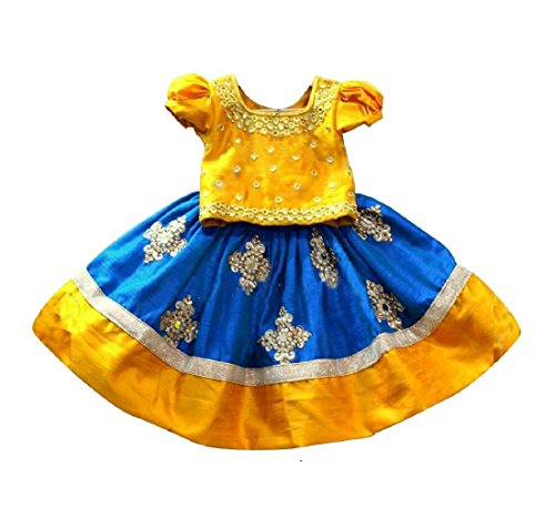 White Button Baby Girl's Mustard N Blue Mirror Embroidery Cotton Silk Readymade...