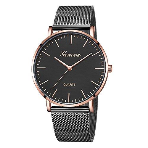 Bestow Relojes de Pulsera de Pulsera de Acero Inoxidable de Cuarzo para Mujer Ginebra Cl¨¢sica(NegroH)