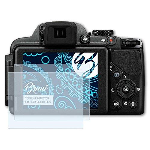 Bruni Schutzfolie kompatibel mit Nikon Coolpix P520 Folie, glasklare Displayschutzfolie (2X)