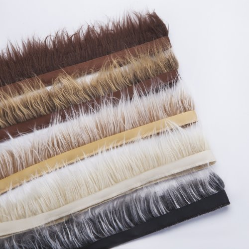 Neotrims Fake Faux Luxury Quality Two Tone Fur Trimming on Satin Ribbon Trim, For Costume, Crafts, Hoods & Coats Edging. 5 Earthy Natural Colours, Silky Fur Hairs, 7- 8 cms Long. - Tan Brown - 1 Meter by Neotrims Fur, Ostrich & Marabou Trimmings