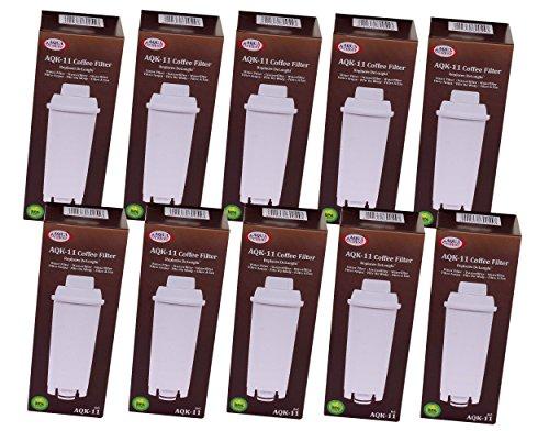 10 x AQK-11 - Wasserfilter für DeLonghi Kaffeemaschine - ersetzt DLS C002 / DLSC002 / SER3017 / SER...