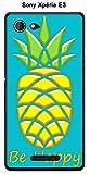 Onozo Coque Ananas Turquoise Be Happy pour Sony Xperia E3