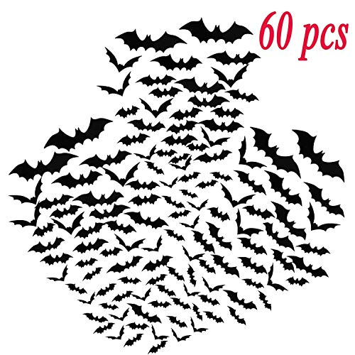 Ikooo 60 Pcs 3D Fledermäuse Aufkleber Halloween Wand Dekoration Fenster Decor Scary Fledermäuse Party Supplies
