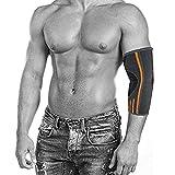 ZSZBACE élastique coude bandage/poignet pansements coudes compression idéale pour les sports de force, fitness, musculation, handball, Tennis Elbow, tous les jours pour les femmes et les hommes sports (L, Grey)