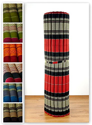 Kapok Rollmatte der Marke Asia Wohnstudio, Thailändische Rollmatte, Entspannungsmatte, Yogamatte, Pilates, Rollmatratze (rot-schwarz)