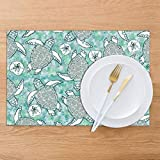 BigHappyShop Placemat,Baby Logger Head Sea Turtles Heat Insulation Non Slip Plastic Kitchen Stain Resistant Placemats And Coaster Sets 6