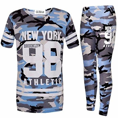 GUBA® Girls New York Brooklyn 98 Athletic Camouflage T-Shirt Top Legging Two Piece Set 7-13