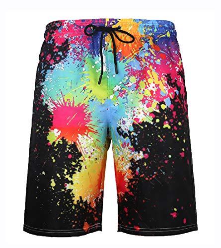 LAUSONS Shorts de baño Hombres 3D bañador Largo Hombre Playa Trajes de baño Short Hombre Tallas Grandes...