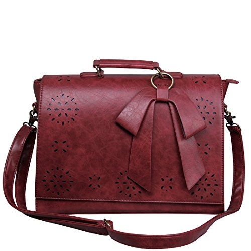 Rote Damen Aktentasche (ECOSUSI Vintage Damen Schultasche Arbeitstasche Aktentasche Laptoptasche 14