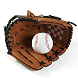 QETY Guante De Béisbol, Pelota De Softbol Guantes para Niños Adultos Óptimo Guante De Béisbol Extreme Deportes Guantes De Bateo,Brown,S