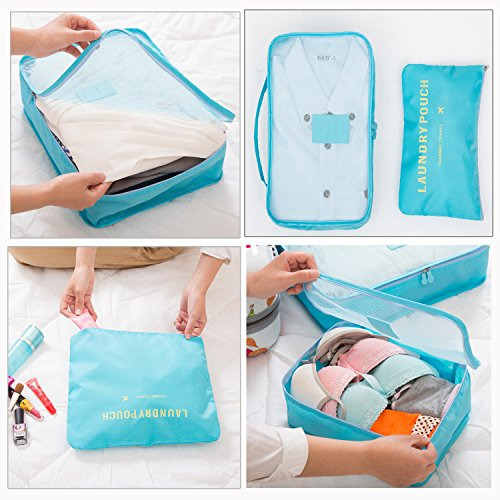 HongyuTing 6 Stück Wasserdichte Koffeorganizer Packtaschen Kleidung Verpackungs Würfel Reisegepäck Veranstalter