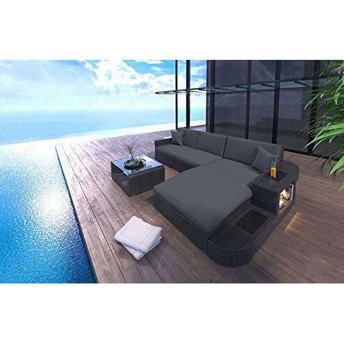 Sofa Rattan Wave L-Shape with LED
