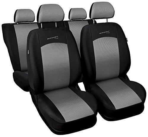 Sitzbezüge Auto Universal Set Autositzbezüge Schonbezüge Schwarz-Silber Vordersitze und Rücksitze mit Airbag - Sportline